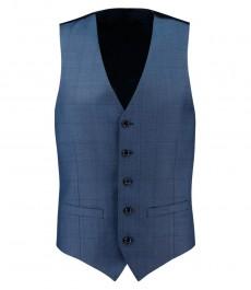 Мужская приталенная жилетка для костюма, синяя, двойная клетка