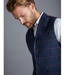 Мужская твидовая приталенная жилетка, ткань в ёлочку голубого с красным цветов