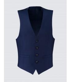 Мужская ярко-синяя приталенная жилетка от костюма, твиловая текстура ткани