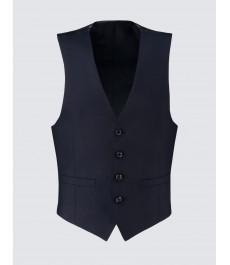 Мужская тёмно-синяя приталенная жилетка от костюма, твиловая текстура ткани