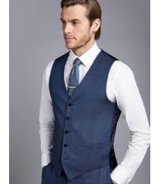 Мужские приталенная серо-голубая жилетка от костюма Birdseye с ромбовидным узором