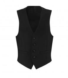 Мужская приталенная жилетка, черная твил - шерсть SUPER 120S