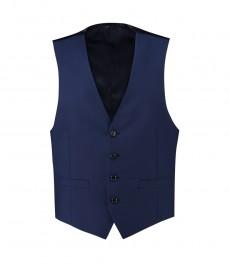 Мужская приталенная жилетка, ярко-голубая твил - шерсть super 120S