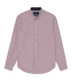 Мужская приталенная рубашка Оксфорд в красную с темно-синим мелкую клетку