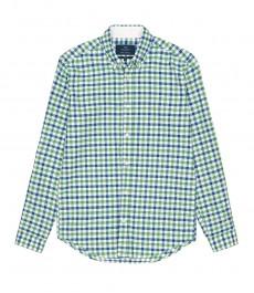 Мужская приталенная рубашка Оксфорд в зеленую и голубую клетку.