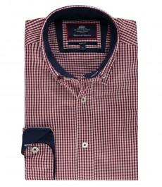 Мужская приталенная рубашка в красно-белую мелкую клетку, для повседневной носки, легко стирается.