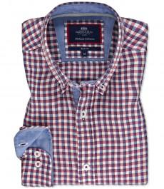 Мужская льняная рубашка, красная в темно-синюю клетку, приталенная