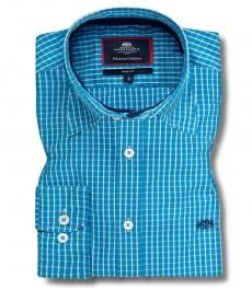 Мужская приталенная рубашка, голубая в белую клетку