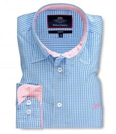Мужская приталенная рубашка, голубая в розовую клетку