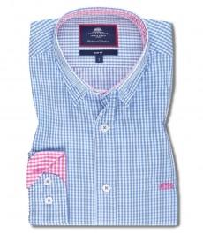 Мужская приталенная рубашка, голубая и фуксия клетка