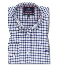 Мужская рубашка OXFORD, белая в темно-синюю клетку, приталенная