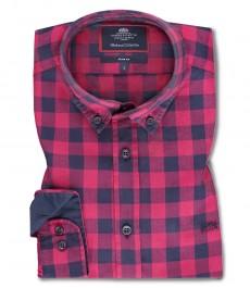 Мужская приталенная рубашка, красная в темно-синюю клетку, ткань ёлочка