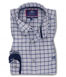 Мужская приталенная рубашка, серая в темно-синюю клетку, фланель