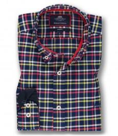 Мужская приталенная рубашка OXFORD, темно-синяя в красную клетку, хлопок