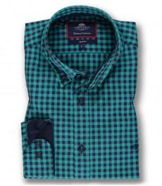 Мужская приталенная рубашка, зеленая в темно-синюю клетку, фланель
