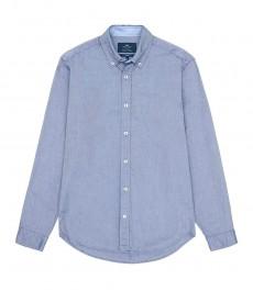 Мужская голубая приталенная рубашка -Оксфорд, воротник с пуговицами