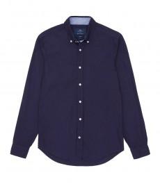 Мужская приталенная темно-синяя рубашка Оксфорд