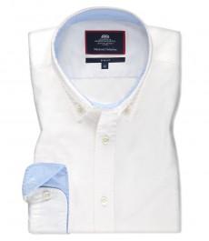 Мужская белая приталенная рубашка Оксфорд