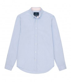 Мужская голубая приталенная рубашка-Оксфорд воротник с пуговицами