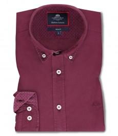 Мужская приталенная рубашка OXFORD , цвет винный, хлопок