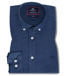 Мужская приталенная рубашка CASUAL, однотонная темно-синяя