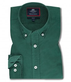 Мужская приталенная рубашка OXFORD, зеленая, хлопок