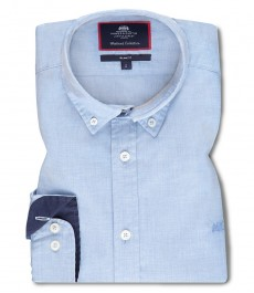 Мужская приталенная рубашка CASUAL, голубая, ткань END-ON-END