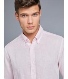 Мужская приталенная рубашка Оксфорд, льняная ткань