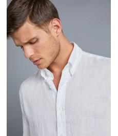 Мужская приталенная рубашка Оксфорд, льняная ткань, белая - манжеты на пуговицах