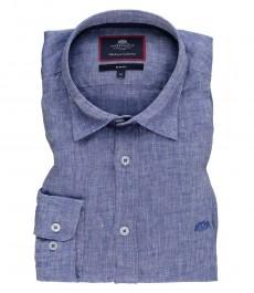 Мужская приталенная рубашка, голубая свободная лен