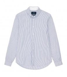 Мужская повседневная приталенная рубашка Оксфорд в белую с голубым бенгальскую полоску
