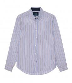 Мужская приталенная рубашка Оксфорд в голубую с красным полоску