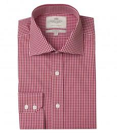 Мужская полуприталенная рубашка, белая в красную клетку