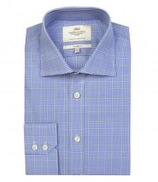 Мужская полуприталенная рубашка в голубую и зеленую клетку - одинарные манжеты
