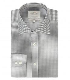 Мужская рубашка, серая в белую клетку, полуприталенная - манжеты на пуговицах