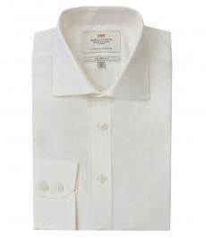 Мужская полуприталенная рубашка, однотонная поплин, цвет слоновой кости - манжеты на пуговицах