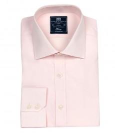 Мужская полуприталенная рубашка, однотонная розовая поплин - манжеты на пуговицах