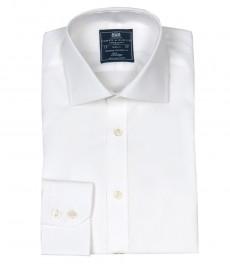 Мужская полуприталенная рубашка, однотонная поплин, белая - манжеты на пуговицах