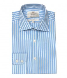 Приталенная мужская рубашка Warwick, голубая с белым разнообразная полоска, одиночная манжета