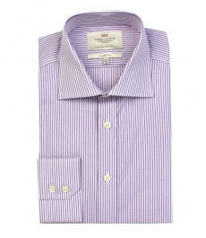 Мужская полуприталенная рубашка белая в фиолетовую полоску - одинарная манжета.