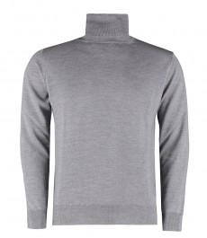 Мужской джемпер, светло-серый, закрытое горло - 100%  мериносовая шерсть