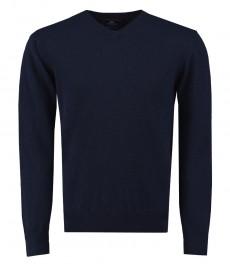 Мужской однотонный свитер, темно-синий -100% овечья шерсть