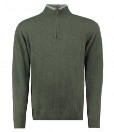 Мужской свитер серо-зеленый, с молнией спереди -100% шерсть