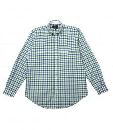 Мужская классическая рубашка Оксфорд в зелёную и голубую частую клетку