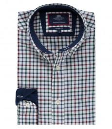 Мужская классическая рубашка Оксфорд, ярко-синяя с красным полоска, стиль casual