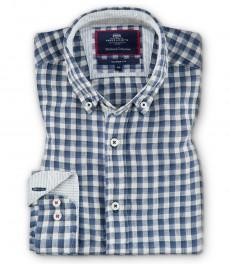 Мужская классическая рубашка Oxford, голубая в белую среднюю клетку, лен