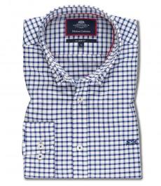 Мужская классического кроя рубашка OXFORD, белая в темно-синюю клетку