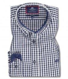 Мужская рубашка, серая в темно-синюю клетку, классический крой