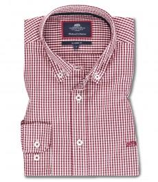 Мужская рубашка OXFORD, белая в красную клетку, хлопок, классический крой