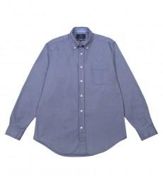 Мужская классическая однотонная голубая рубашка Оксфорд
